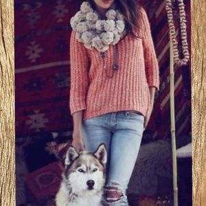 Anthropologie Faux fur pom pom scarf tan